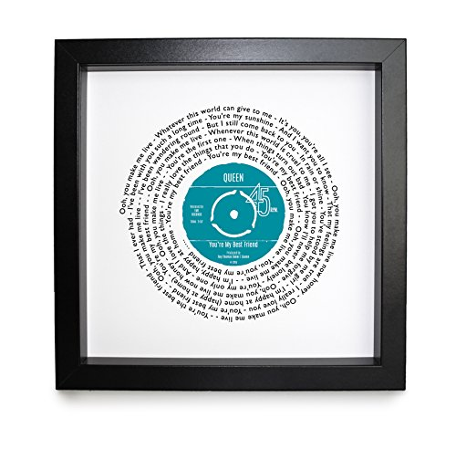 Queen You're My Best Friend Personalised Song - Vinyl Record Print of First Dance or Anniversary Song - Fully Framed Black Box 9.5 inch Frame