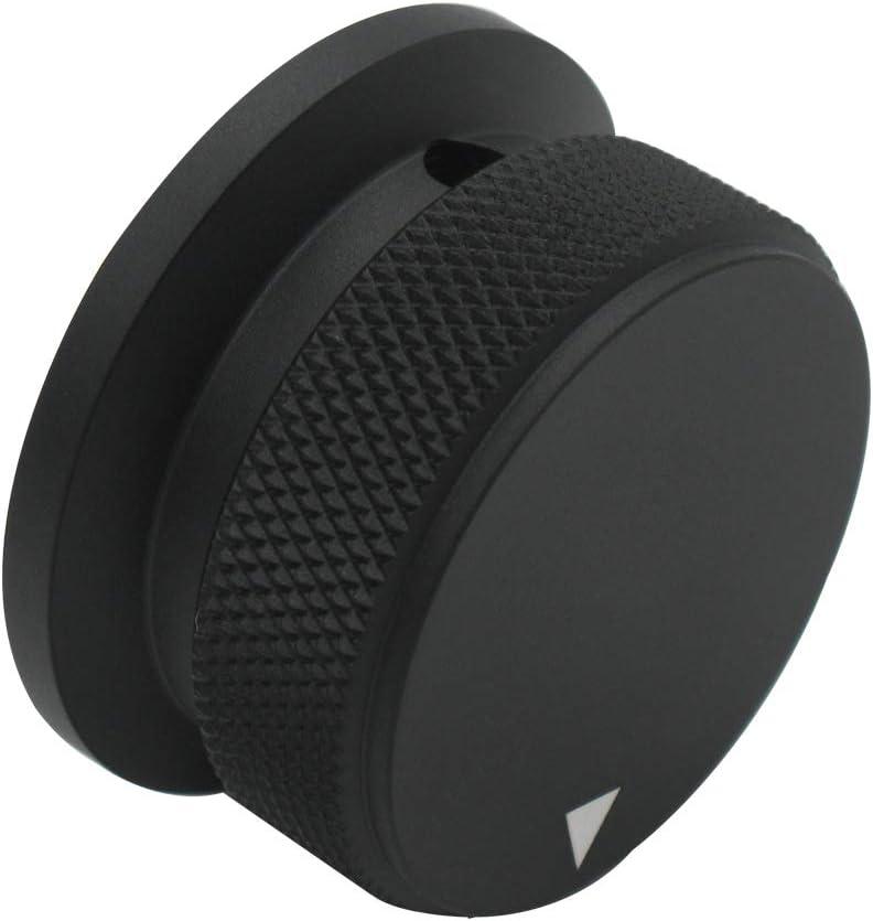 mxuteuk Black Aluminum Alloy Potentiometer Control Knob Volume Audio Electric Guitar Bass Screw Type 38 x 20mm KNOB-08-BK dh