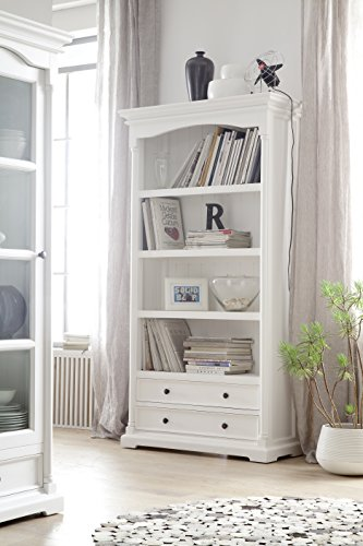(NovaSolo Provence Pure White Mahogany Wood Bookcase With 4 Shelves And 2)
