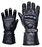 Evo New Leather Motorbike Motorcycle Bike Heavy Duty Waterproof Winter Thermal Carbon Shell Gloves (Large)