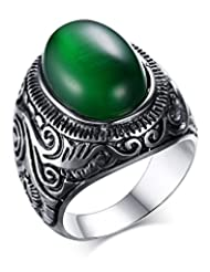 Fashion Stainless Steel Vintage Antique Gemstone Green Cat Eye Stone Ring for Men and Women