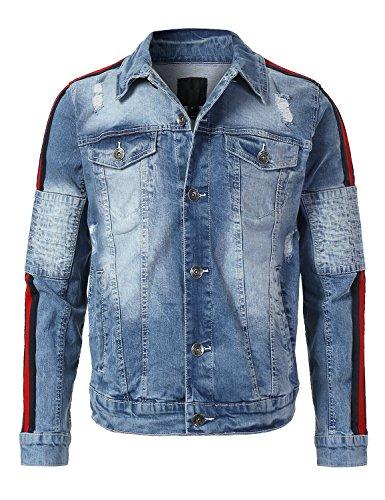 URBANCREWS Mens Hipster Hip Hop Stripe Side Panel Denim Jacket LTSANDBLUE, ()