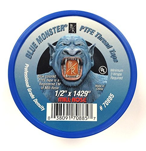 Milrose 70885 Blue Monster 1/2 Inch x 1429 Inch Blue Teflon Tape (3 Pack)