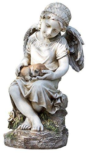 "Napco 17785 Angel Holding Dog in Lap Garden Statue, 16.5"""