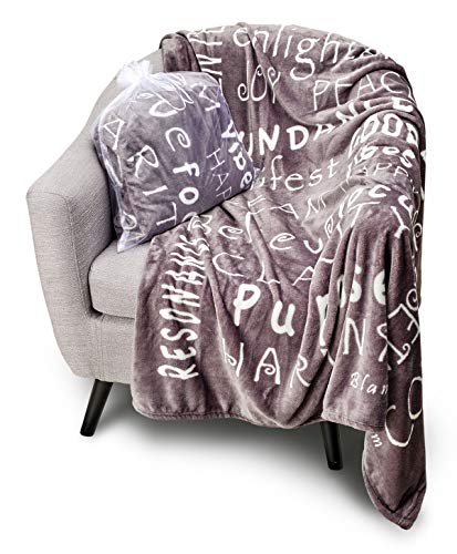 BlankieGram Law of Attraction Throw Blanket with Positive & Happy Thoughts | The Perfect Good Vibes Gift for Friends & Family (Grey)