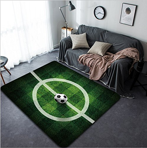Vanfan Design Home Decorative soccer football on grass field D rendering Modern Non-Slip Doormats Carpet for Living Dining Room Bedroom Hallway Office Easy Clean Footcloth by vanfan