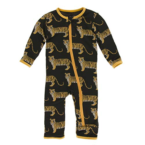 Kickee Pants Little Boys Print Coverall with Zipper - Zebra Tiger, 4T