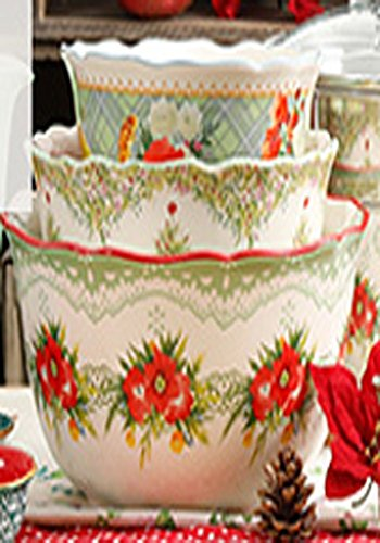 The Pioneer Woman Garland Floral and Greenery Design Ruffle Edge 3 Piece Nesting Mixing -