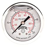 """Winters PFQ Series Stainless Steel 304 Dual Scale Liquid Filled Pressure Gauge with Brass Internals, 0-100 psi/kpa, 2"""" Dial Display, +/-2.5% Accuracy, 1/8"""" NPT Back Mount"""