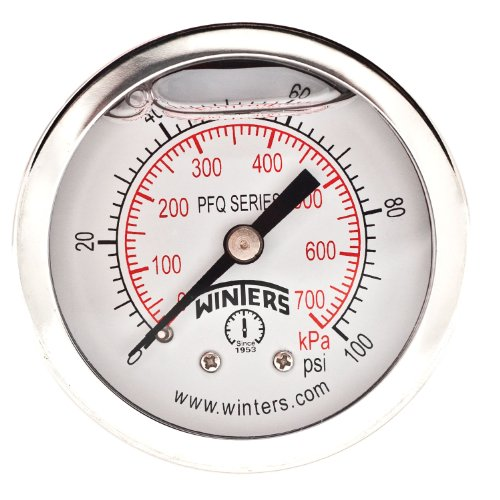 Winters PFQ Series Stainless Steel 304 Dual Scale Liquid Filled Pressure Gauge with Brass Internals, 0-100 psi/kpa, 2