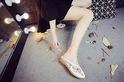 Mujer Estar Lazutom Lona Para Blanco Por Zapatillas De Casa fqSP0x