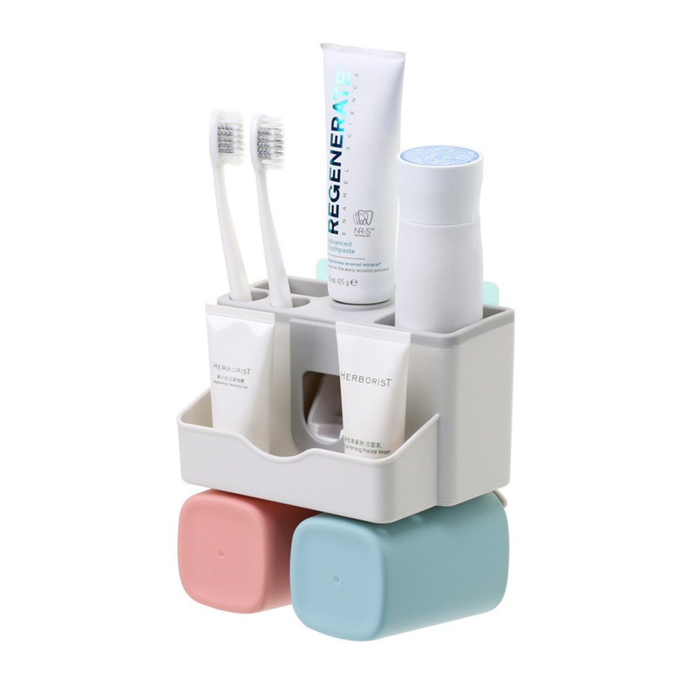 BOYAN Toothbrush Holder Set, Save Space No Drill Wall Mount Toothpaste Dispenser and Multi-functional Slots Bathroom Organizer with Water Drainer (SMALL)