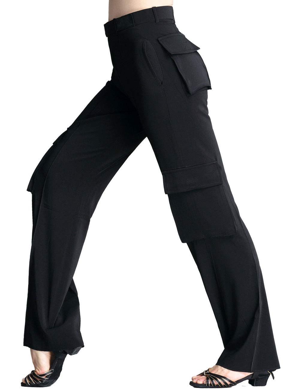 Daydance Men's Latin Pants Loose Straight Ballroom Tango Salsa Dance Pants with Pockets,Black-pockets,Size 28 (Fit Waist 89-92cm) by Daydance
