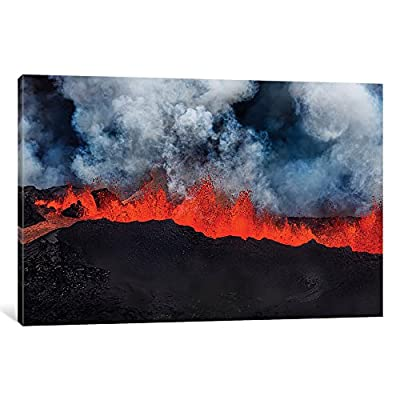 "iCanvasART Eruption Fissure Splatter Fountains I, Holuhraun Lava Field, Sudur-Bingeyjarsysla, Nordurland Eystra, Iceland Gallery Wrapped Canvas Art Print by Panoramic Images, 12"" X 1.5"" X 18"""
