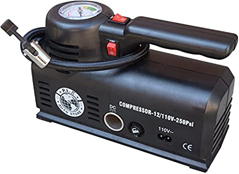 P.I.Auto Store Tire Inflator - Dual Electric Power 12V DC (car) 110V/120V AC (mains). Portable Air Compressor Pump with storage bag - New and improved - Ideal Father's Day Gift (Auto Tek Car Amp)