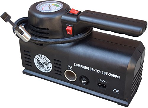 P.I. Auto Store Tire Inflator - Dual Electric Power 12V DC (car) 110V/120V AC (mains). Portable Air Compressor Pump with storage bag. (Quiet Portable Air Compressor compare prices)