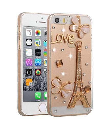 (Losin Diamond Case Compatible with Apple iPhone 5 / 5S Luxury Beautiful Rhinestone Diamond Lovely Bling 3D Flower, Fairy, Bow and Paris Pattern Soft TPU Back Case)