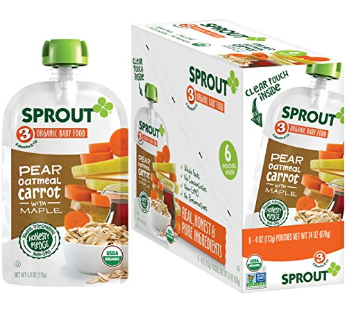 Sprout Organic Baby Food Pouches Stage 3 Sprout Baby Food, Pear Carrot Oatmeal with Maple, 4 Ounce (Pack of 6); USDA Organic, Non-GMO, Made with Whole Foods, No Added Sugar