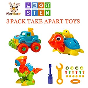 markkee Dinosaur Toys Take Apart Toys with Tools Car,Turtle,Dinosaur Take Apart Toy Sets,STEM Learning, Take Apart Fun Construction Engineering Building Toys for Boy Girl Toddler, Best Toy Gift (1)