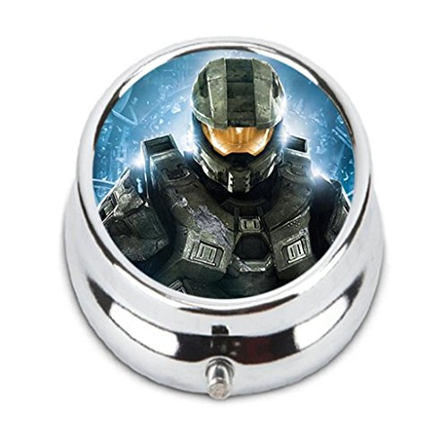 Halo Master Chief Custom Fashion HOT Round Pill Box stainless steel Useful Medicine Organizer Box (Halo The Masterchief)
