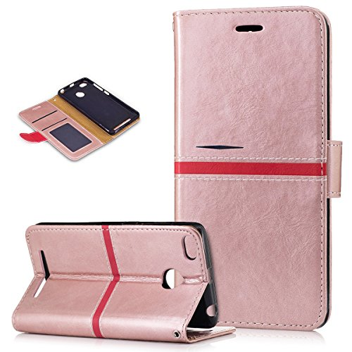 Xiaomi Redmi 3S Case,Xiaomi Redmi 3S Cover,ikasus Premium PU Leather Fold Wallet Pouch Case Wallet Flip Cover Bookstyle Magnetic Card Slots & Stand Protective Case Cover for Xiaomi Redmi 3S,Pink