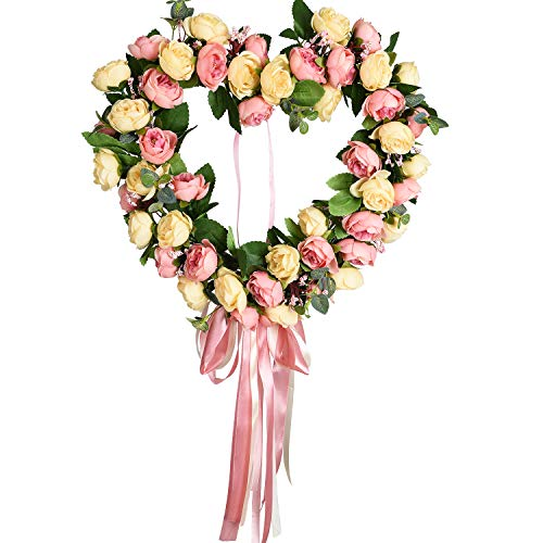 TINGOR 14 Inch Artificial Rose Flower Wreath, Heart-Shaped Floral Wreaths Door Springtime Wreath for Front Door Outdoor Wall Wedding Home Summer Decoration, Pink & Champagne