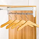 Nattork Adjustable Closet Rod Pull Out Retractable Wardrobe Clothing Storage Rail