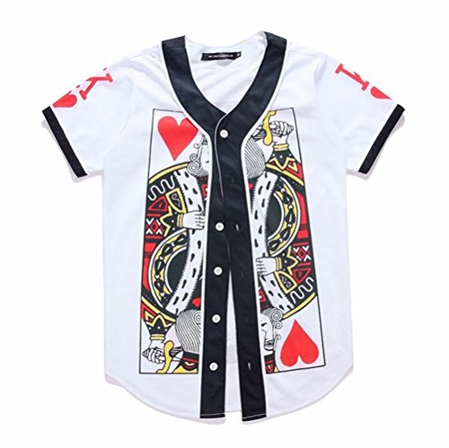 SAINDERMIRA Unisex 3D Digital Galaxy Baseball Jersey Button Down Shirt(Poker ()