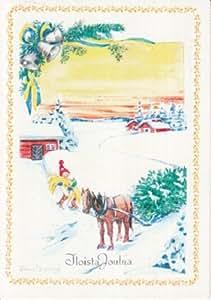 Amazon.com : Used Postcard Finnish Language Finland Merry Christmas Happy New Year Greetings ...