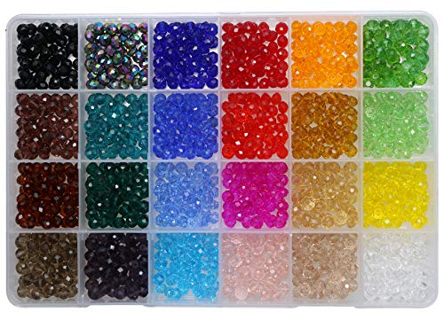 (Shapenty 24 Colors 6mm Decorative Hand Briolette Faceted Rondelle Crystal Glass Beads with Hole for DIY Craft Bracelet Necklace Jewelry Making, 1200 Pieces/Box)