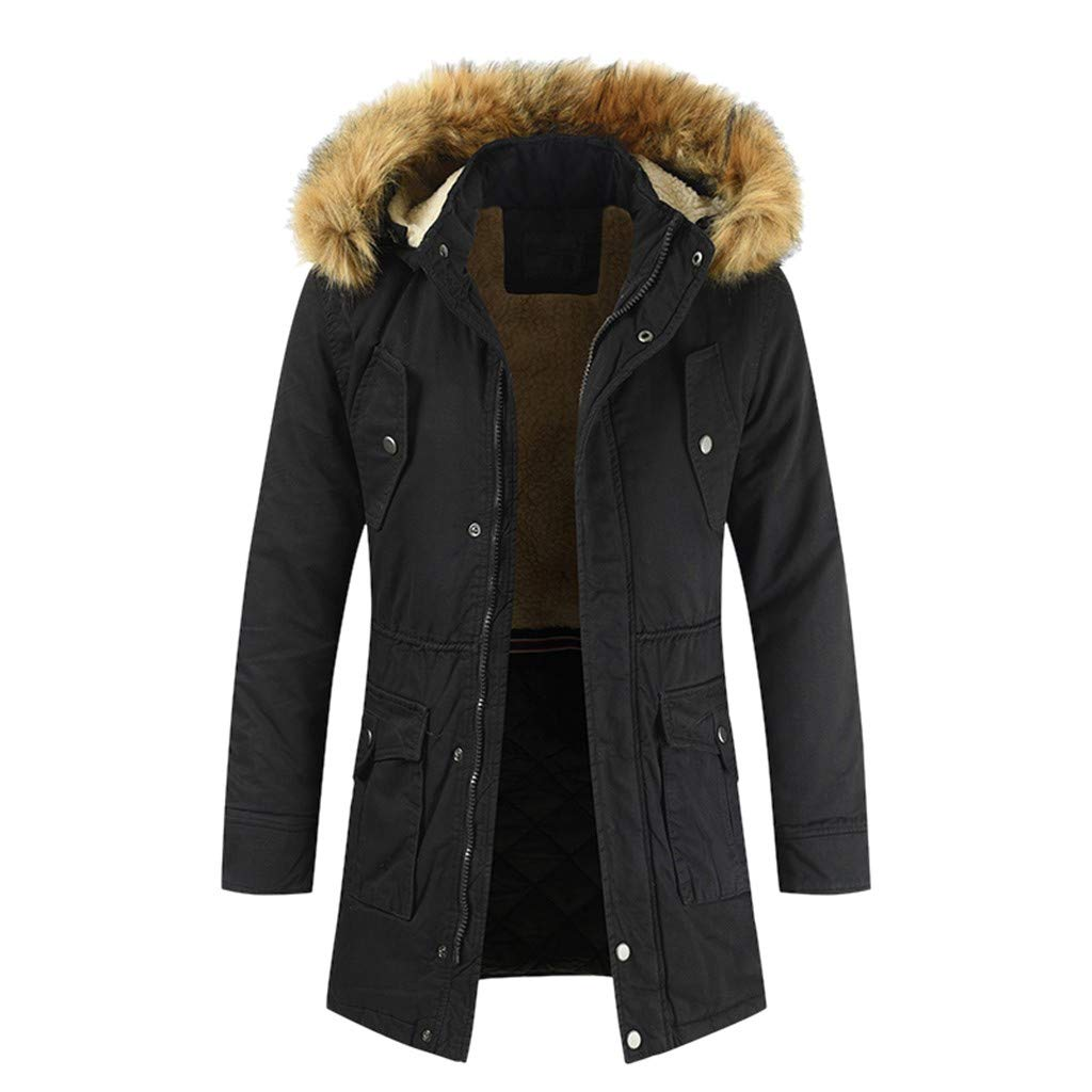 Han1dsome tops Men's Insulated Expedition Mountain Thicken Lined Fur Hooded Long Parka Padded Coat Zipped Warm Outwear Black by Han1dsome tops