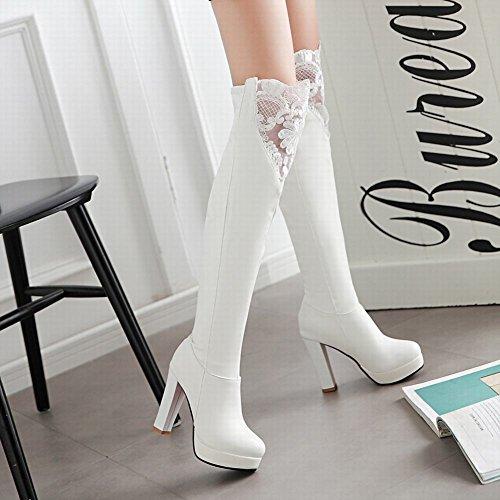 Latasa Dames Lace Platform Hoge Hakken Lange Jurk Laarzen Wit