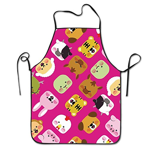 Adorable Animal Adjustable Apron For Kitchen BBQ Barbecue Cooking Chef Waitress Great Gift For Wife Ladies Men Boyfriend by Bag shrot