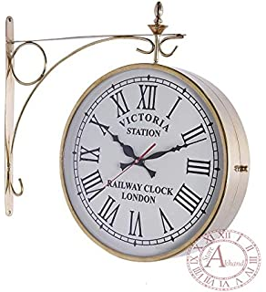 akhandstore 12 inch clock dia brass railway clock double side antique wall clock victoria station clock