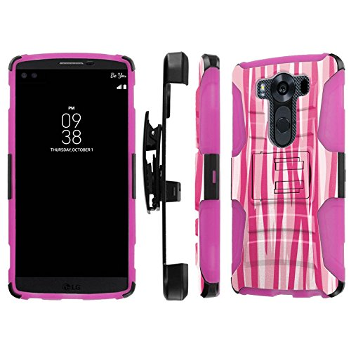 Click to buy LG V10 / G4 Pro Case, [NakedShield] [Black/ Hot Pink] Heavy Duty Holster Armor Tough Case - [Two Tones Pink Zebra Stripes] for LG V10 / G4 Pro - From only $12.79