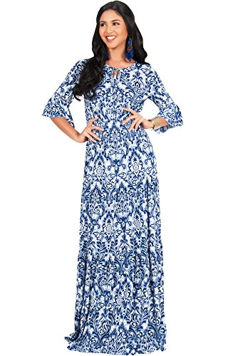 KOH KOH Womens Long Half Sleeve Peasant Print Flowy Boho Casual Cute Maternity Empire Waist Renaissance Boho Gown Gowns Maxi Dress Dresses For Women, Navy Blue M 8-10 (Maternity Empire Waist Jersey)