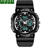 SMAEL LED Backlight Display Waterproof ,Alarm ,Calendar Sports Wrist Watch for Kids (L, Black White)