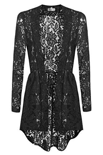 Meaneor Women Long Sleeve Sheer Lace Crochet Open Front Cardigan Tops