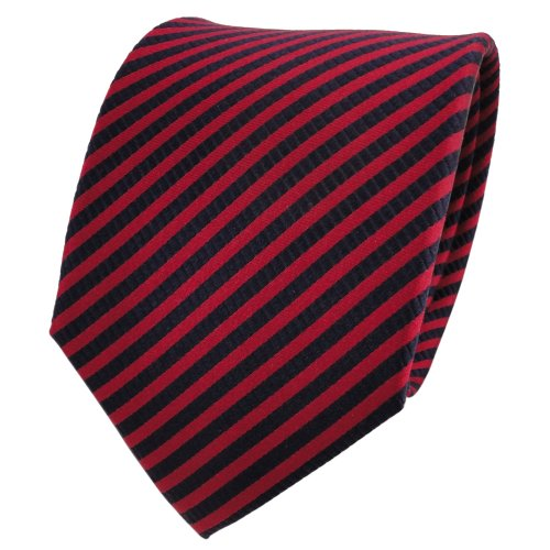 TigerTie Designer cravate en soie rouge carmin royal rayé - cravate en soie