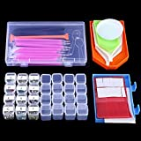 OPount 75 Pieces 5D DIY Diamond Painting Cross Stitch Tool Set Including 2 Styles Diamond Stitch Pen, Tweezers, Glue, Plastic Tray, Stick Labels, Spoon and Diamond Embroidery Box for DIY Art Craft