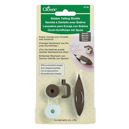 Clover 8106 Brown Tatting Shuttle with 2 Bobbins & Plastic Stopper Lace NEW (Plastic Tatting)