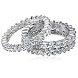 Three Sterling Silver and Cubic Zirconia Stacking All-Around Bands, Size 5.5
