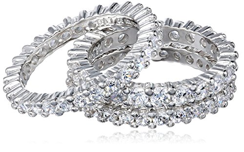 Sterling Silver Cubic Zirconia All-Around Band Stacking Ring Set (Set of 3), Size 6.5 ()