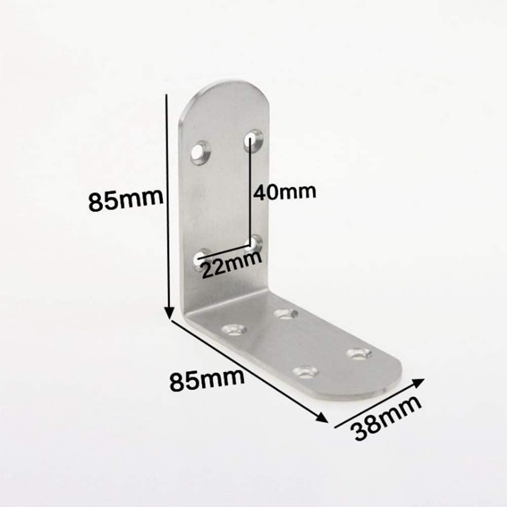 soporte soporte repisa Soporte de estante de acero inoxidable de alta resistencia 85 * 85 * 38 junta de soporte angular /ángulo de soporte /ángulo recto plata, 4 piezas