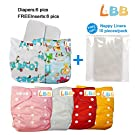 Baby Reusable Cloth Pocket Diapers, 6 pcs + 6 Inserts