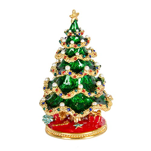 QIFU-Hand Painted Enameled Christmas Tree Decorative Hinged Jewelry Trinket Box Unique Gift for Home Decor