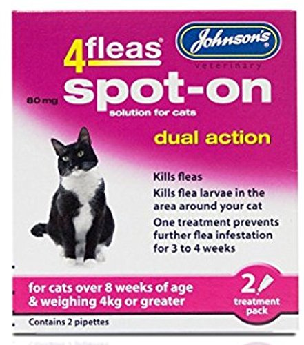 Leeway JOHNSONS 4FLEAS CAT - DUEL ACTION SPOT ON - +8 WEEKS ABOVE 4KG WEIGHT (X2 PACKS)