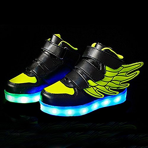 DoGeek LED Shoes, LED Light Up Shoes for Toddles, Boys, Girls and Kids with 7 Colors Light(Choose One Size Up) Green