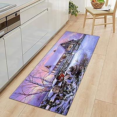 Christmas Carpet Runner.Christmas Carpet Runner Rug Non Slip Backing Hamkaw 47x16in