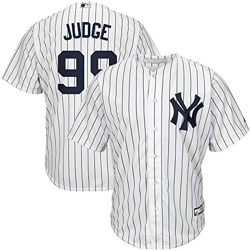 Men's New York Yankees Aaron Judge Home White/Navy Cool Base Player Jersey (XL)